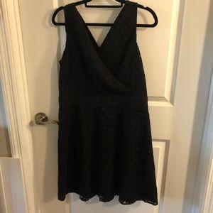 Loft Black Lace Crochet Sleeveless Dress Size 12